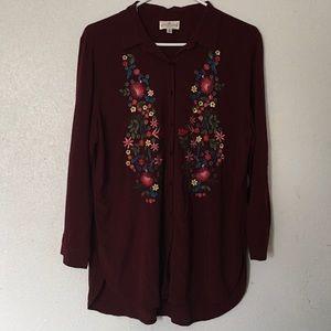 Grand & Greene Medium Burgundy Floral Embroidery